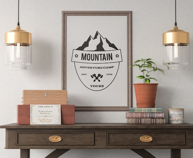 Retro Camping Insignia, Mountain Vector Logo Label - product preview 2