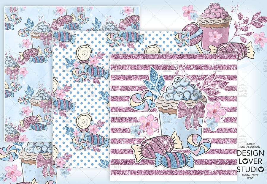 Candy Girl digital paper pack - product preview 2