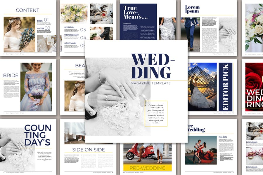 Square Wedding Magazine Template - product preview 3