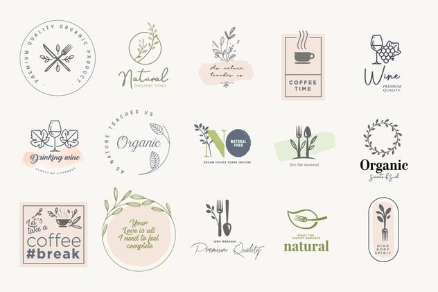 Set of badges and stickers for food and drink - product preview 1