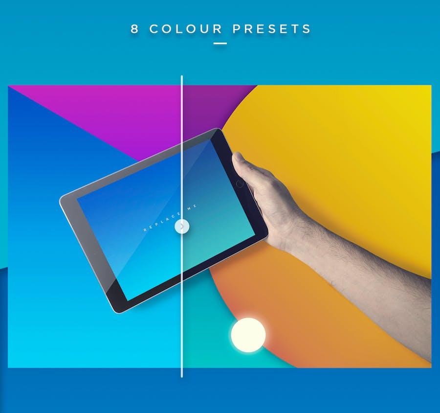 Preview image 5 for iPad Tablet UI Приложение Мокапы с яркими Фоны