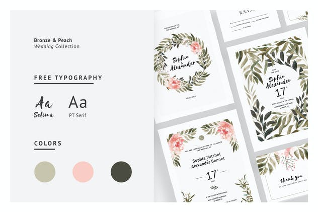 Bronze & Peach Wedding Invitations - product preview 1