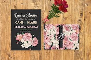 Thumbnail for DIY Peonies Wedding Invitation PSD Template