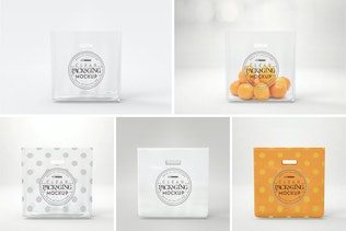 Clear Bag with Cutout Handle Packaging Mockup