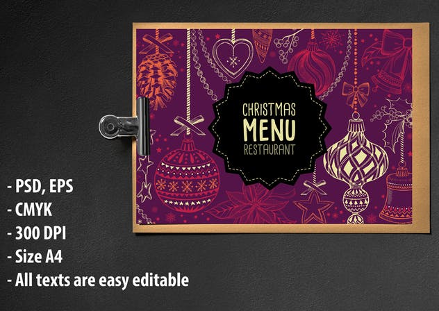Christmas Menu Restaurant Template - product preview 1