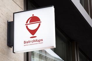 Thumbnail for BistroMaps : Negative Space Location Pin Logo